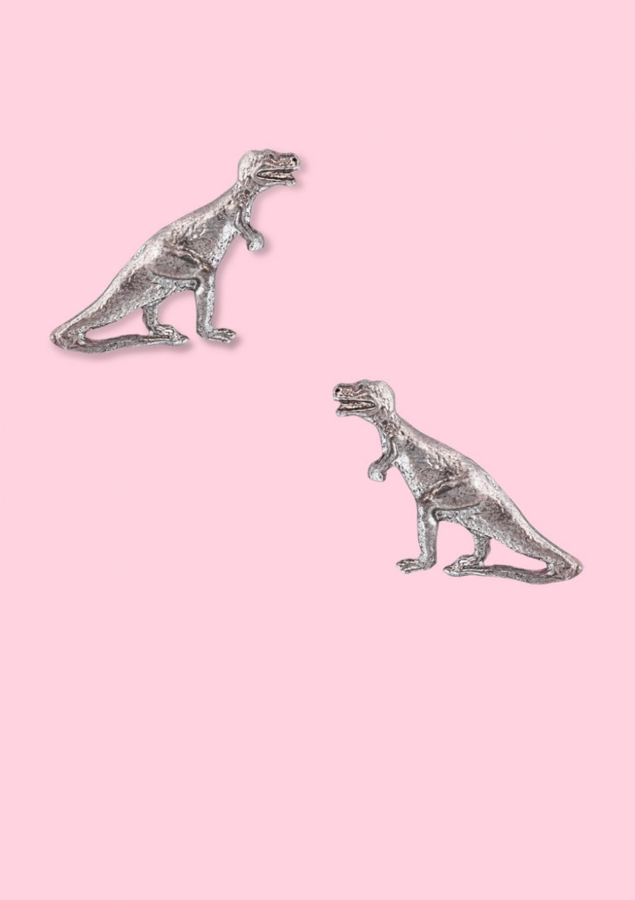 Dinosaur earrings with push-back closing. Vintage design earrings by live-to-express.