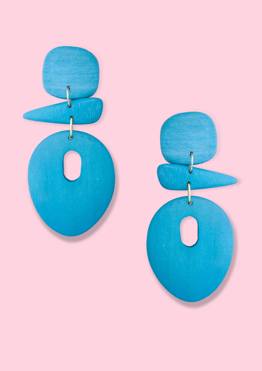 Blue wooden drop earrings by live-to-express. Shop 70's vintage colourful earrings online.