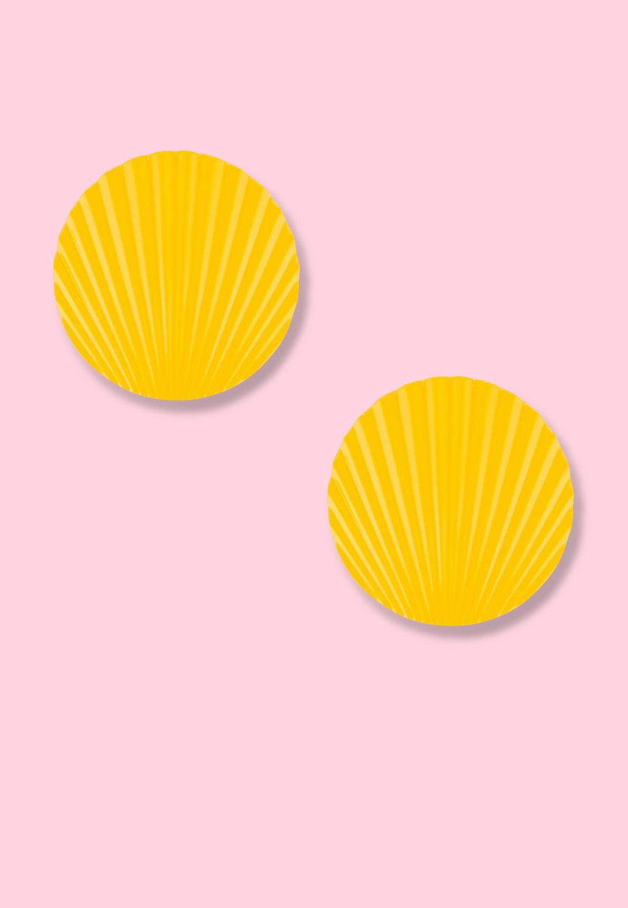Yellow vintage clip-on earrings, by live-to-express. Shop vintage earrings online.