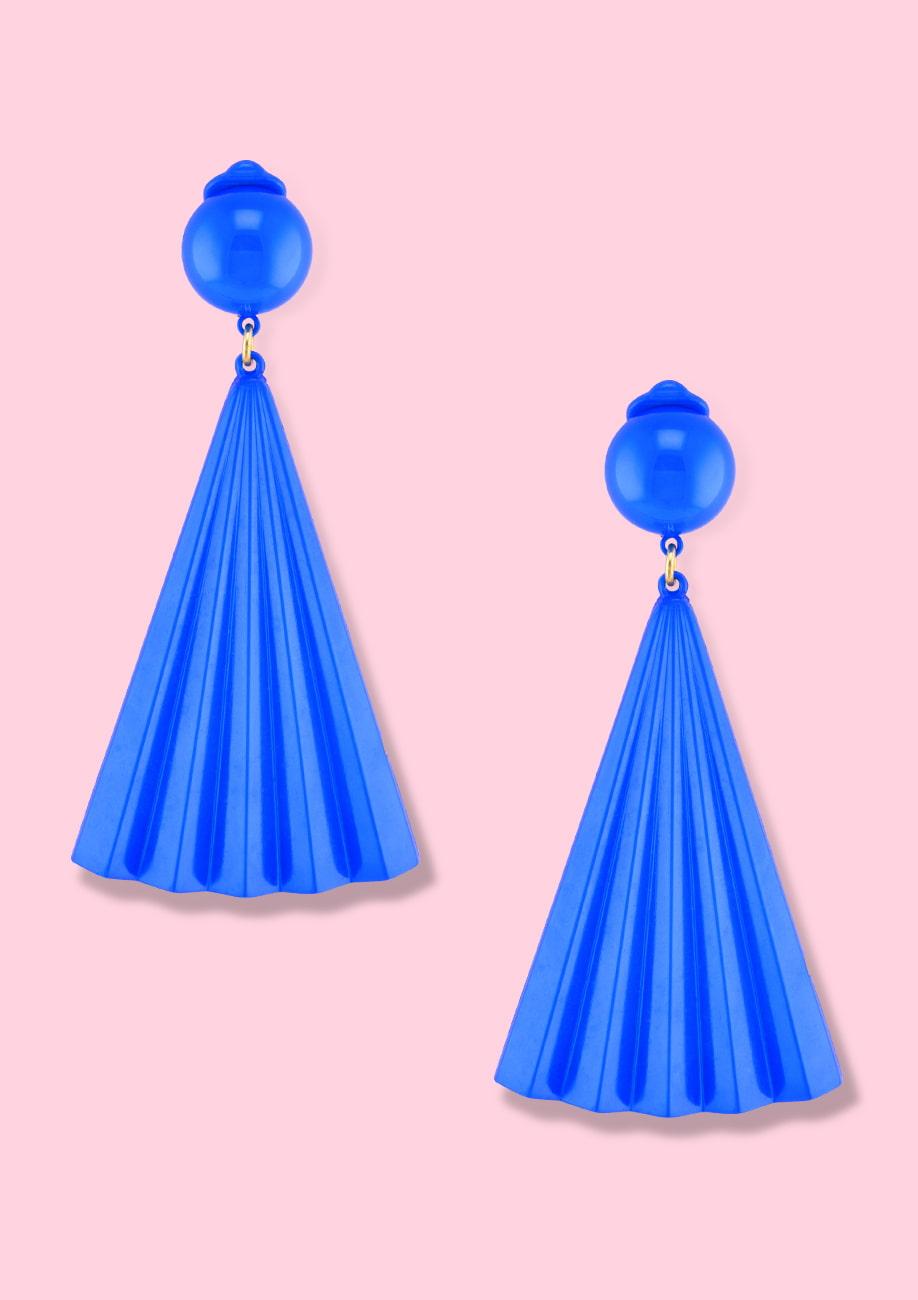 Blue drop earrings by live-to-express. Shop 70's vintage clip-on earrings online.