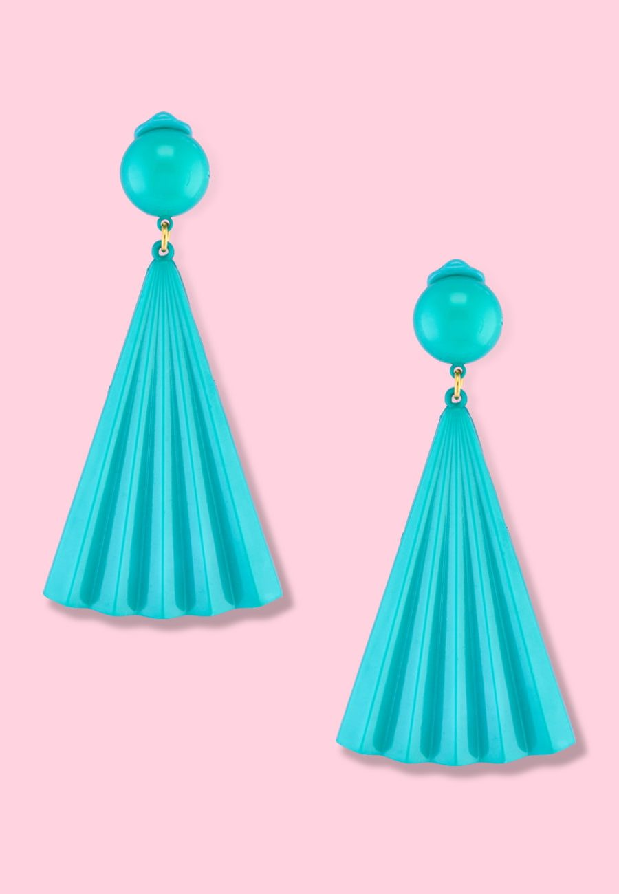 Mint drop earrings by live-to-express. Shop 70's vintage clip-on earrings online.