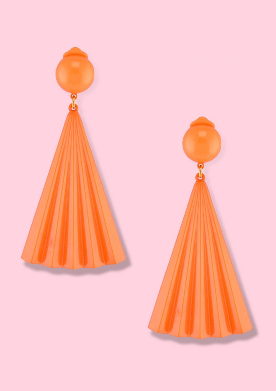 Orange 70's vintage colourful clip-on drop earrings
