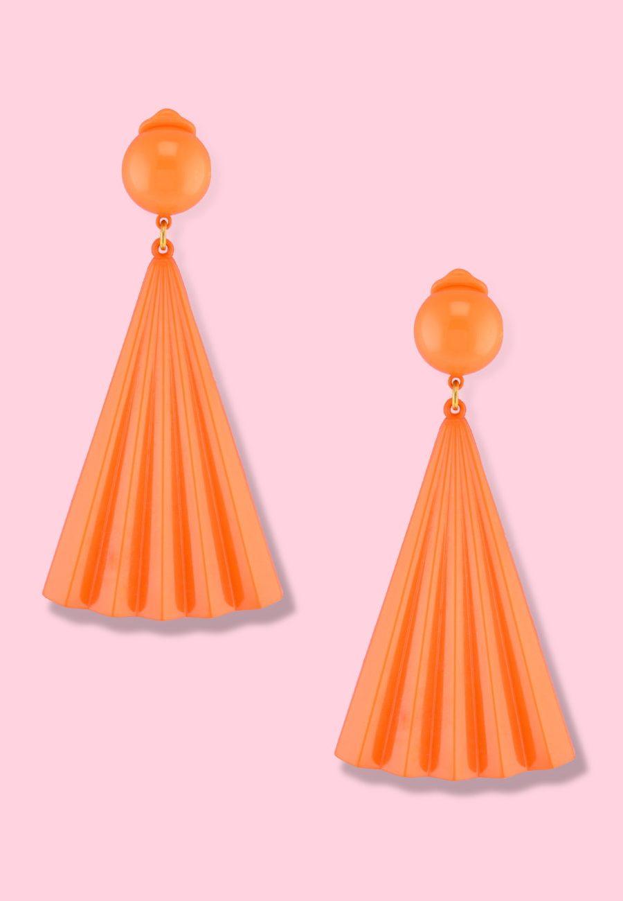 Vintage-70's-colourful-drop-earrings-LTE-Sensu-clip-on-drop-earrings-orange