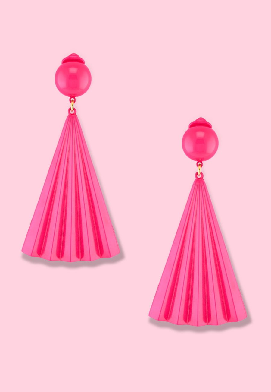 Vintage-70's-colourful-drop-earrings-LTE-Sensu-clip-on-drop-earrings-pink