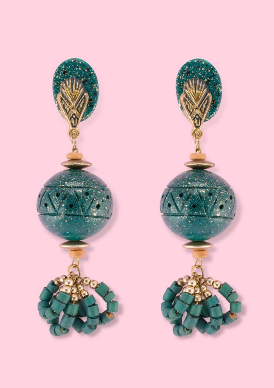 Green wooden vintage clip-on drop earrings, by live-to-express. Shop sustainable vintage online.