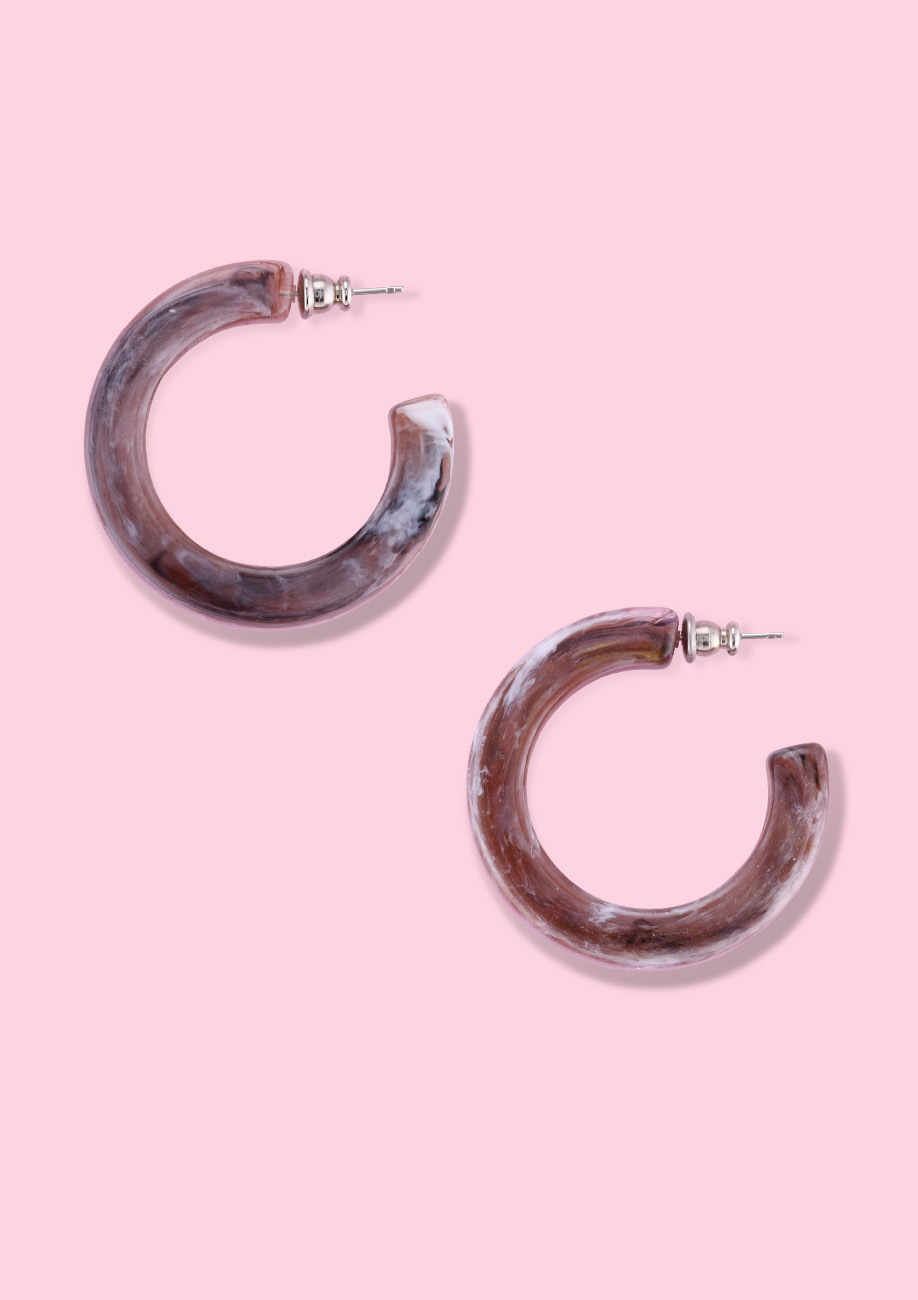 Bold marbled vintage hoop earrings, by live-to-express. Shop earrings online.