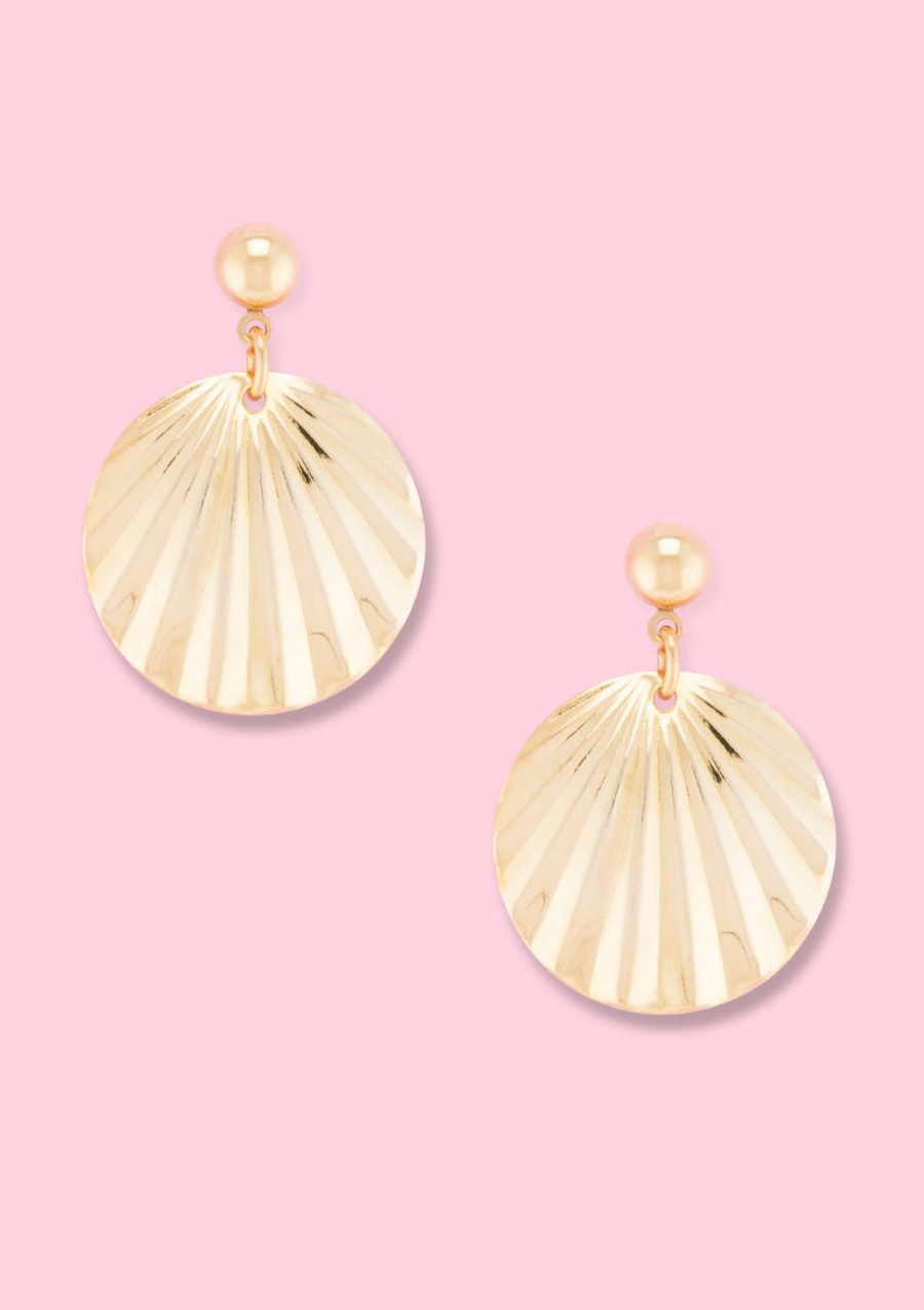 Small golden drop earrings by live to express. Online sustainable vintage earrings shop.