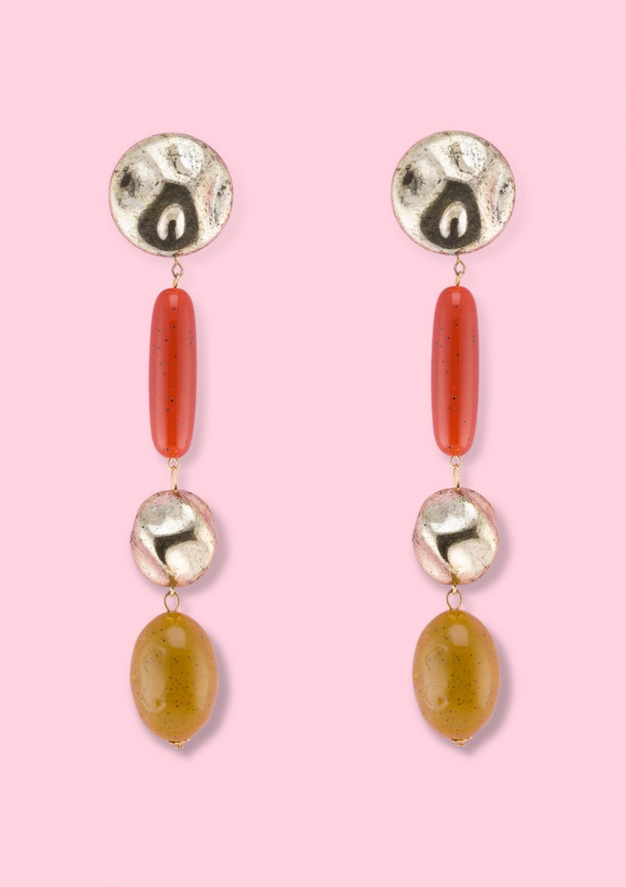 Large statement drop earrings with push-back or clip-on closing, by live-to-express. Shop 80's vintage design earrings online.