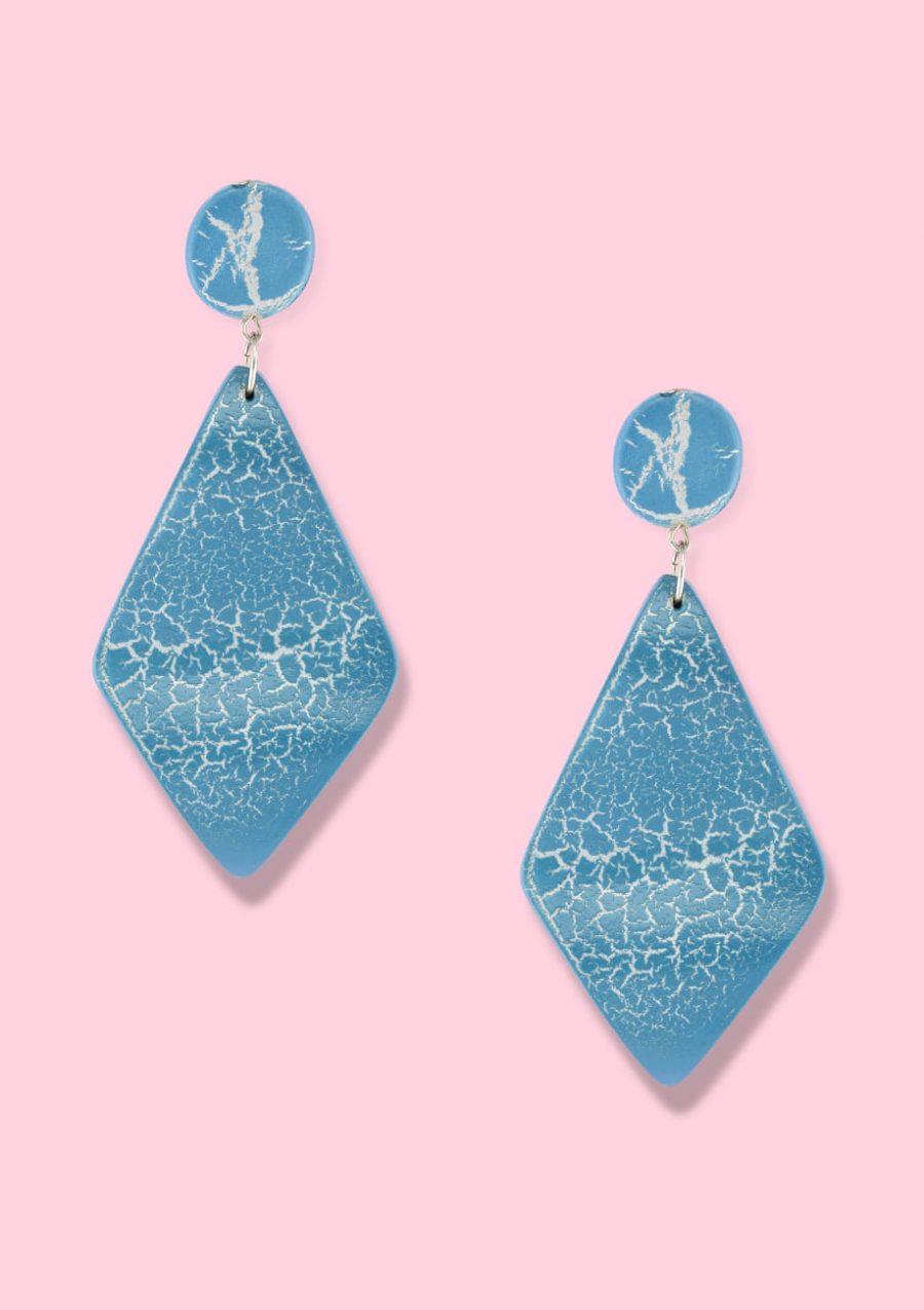 Blue wooden drop earrings by live-to-express. Shop 70's vintage push-back earrings online.