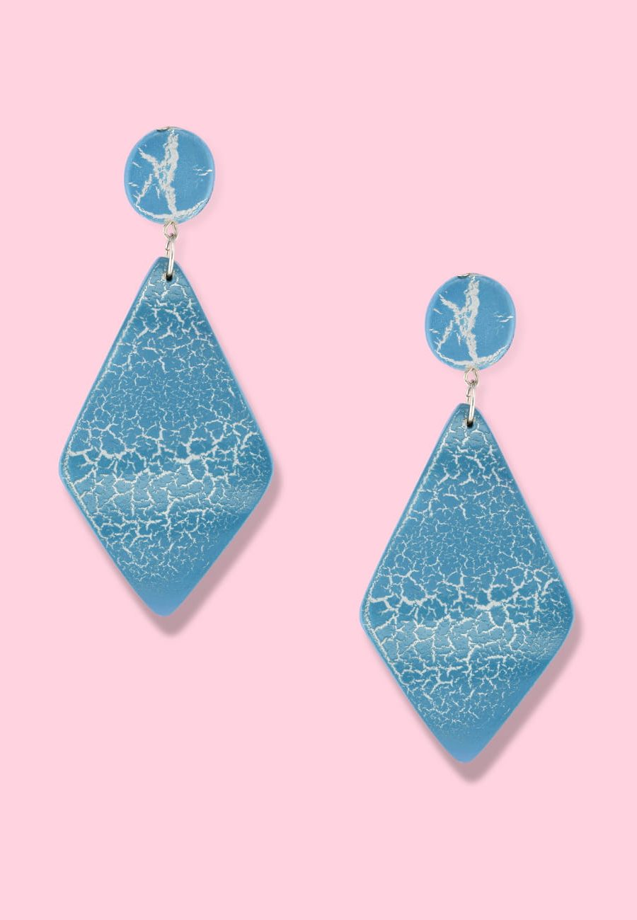 Blue wooden drop earrings by live-to-express. Shop 70's vintage push-back earrings online.