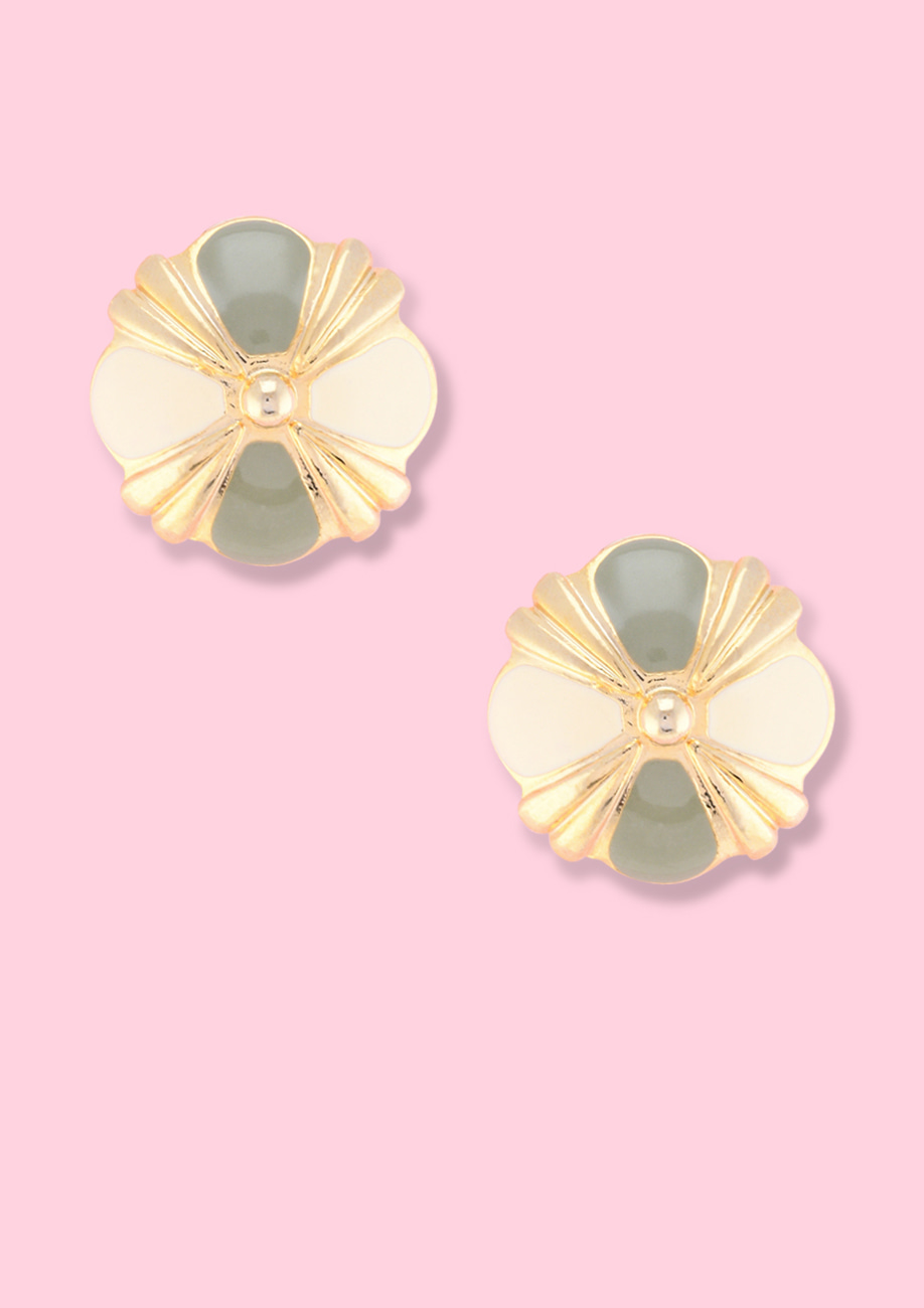 Golden enamel clip-on stud earrings, by live-to-express. Shop sustainable vintage earrings online at live-to-express.