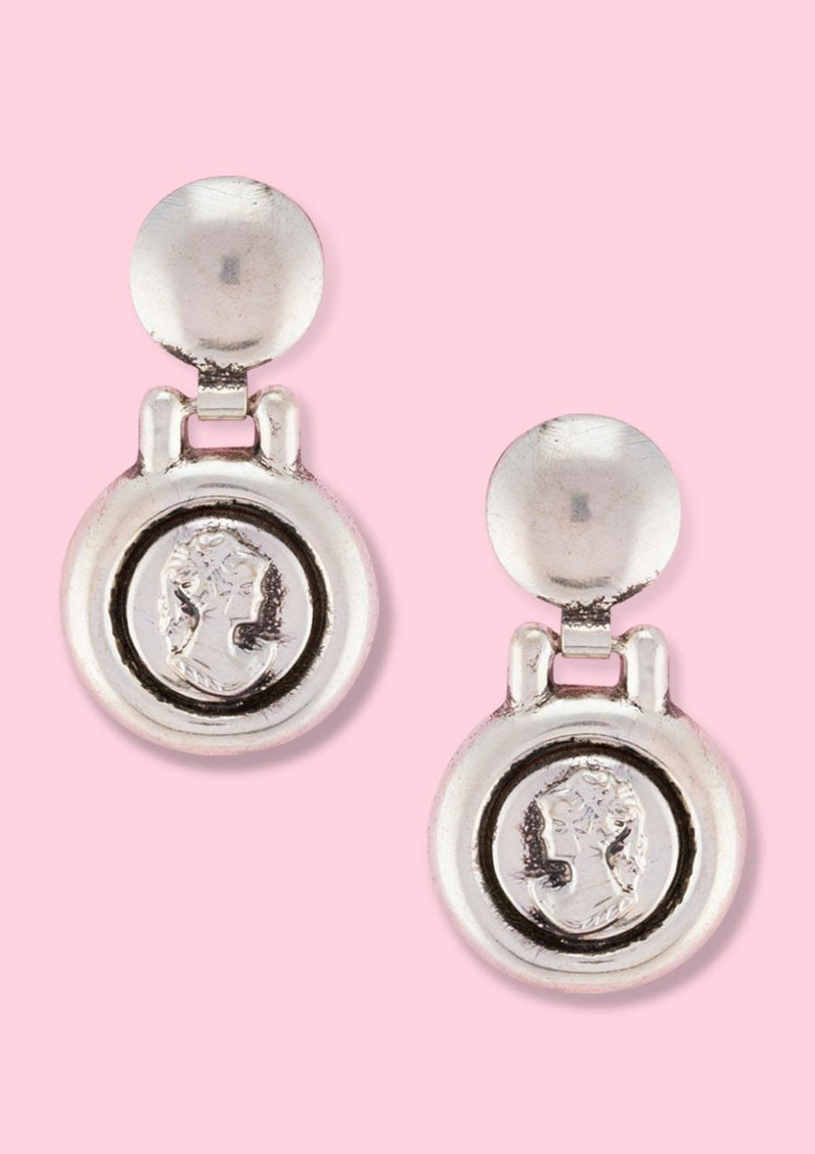 Round silver medallion drop earrings with push-back closing, by live-to-express. Shop 60's vintage earrings online.