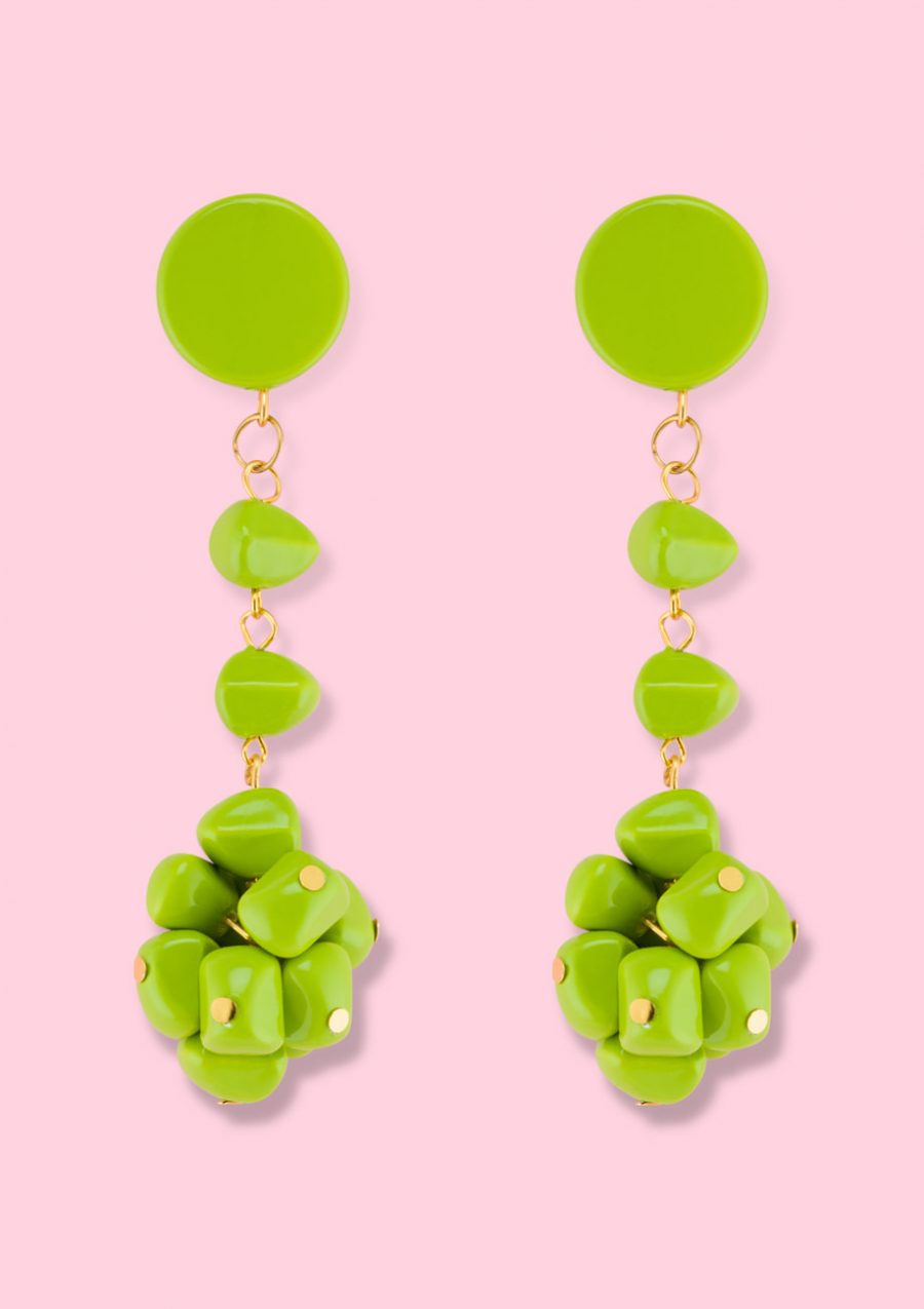 Green statement drop earrings by live-to-express. Vintage statement earrings.