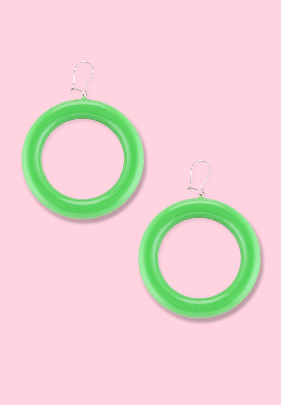 Bold green drop earrings by live-to-express. Shop 80's vintage statement earrings online.